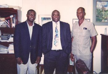 [From right] Hon. Reeial George [grey shirt] on an official visit to St Kitts/Nevis in 2003. In photo also are then Senior Minister in the St Kitts/Nevis Government Dr The Hon. Timothy Harris and the Assistant Secretary in the Ministry of Natural Resources and Labour Julian Willock. Photo: VINO