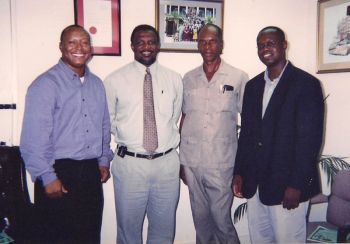 The Late Minister for Natural Resources and Labour Honourable Reeial George on an official visit to St Kitts/Nevis in 2003 [grey shirt] Also in photo are Hon. Cedric Lebert then Minister for Agriculture and Fisheries of St Kitts/Nevis [in tie] and then Agricultural Officer for Virgin Gorda Fitzroy Beckford, and Assistant Secretary in the Ministry of Natural Resources and Labour Julian Willock [in jacket]. Photo: VINO