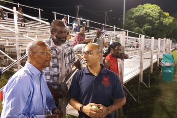 Premier Dr The Hon D. Orlando Smith (left) in conversation with Committee Member of the BVI Cricket Association, Jadid Khan. Photo: Provided