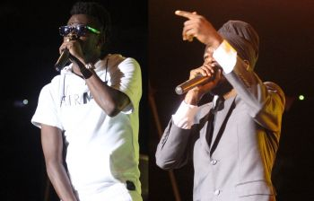 Jamaican artists Moses 'Beenie Man' Davis and Miguel Orlando 'Sizzla Kolanji' Collins during their performance at Rita Francis Festiville on July 29, 2016. Photo: VINO