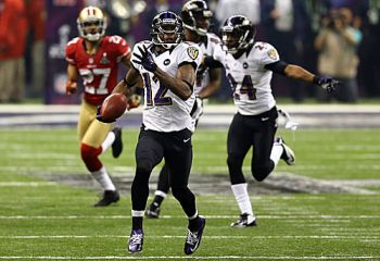 Jacoby Jones scored two of the most spectacular touchdowns in Super Bowl history as Baltimore Ravens edged San Francisco 49ers 34-31 in a thriller. Photo: blog.zap2it.com