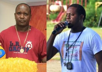 Trevor 'West' Stevens (left) said that the venue must be completed before the Virgin Gorda League 2014 could take place. Project Manager Steve Augustine (right) said that work is still ongoing and he could not say at this point when they will be completed. Photo: VINO/File