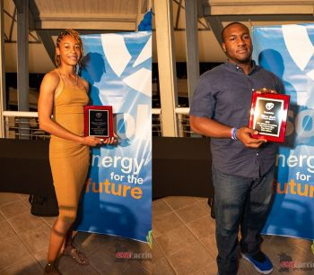 Sprinter Beyonce A. DeFreitas and Discuss and Shot Put thrower Djimon L. Gumbs have been named Junior Athletes of 2019. Photo: BVIAA/Facebook