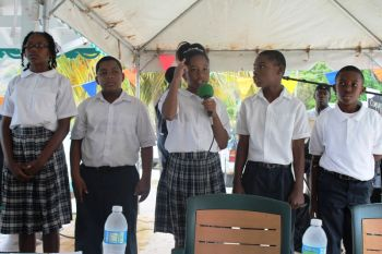 The Jost Van Dyke Pre and Primary school did the honours of singing the National Song and leading with the National Anthem. Photo: VINO