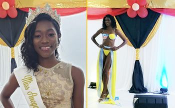 Left: Miss Anegada Ultimate Teen Queen, Kimberly A. Smith. Right: Ms Smith rocked a three piece from the Islander Swim Collection by Andrea Wilson during her appearance in swim wear. Photo: VINO