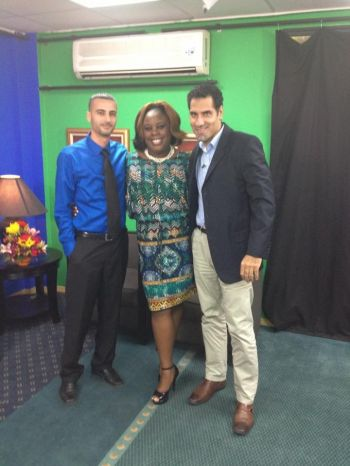 Host of the Real Talk television show, Karia J. Christopher (centre) poses with Hani Hussein (left) and Abraham Tarabay. Photo:facebook
