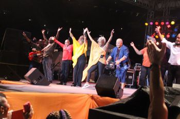 Kassav taking a bow following their lively performance at Rita Francis Festiville. Photo: VINO