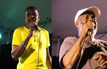 King Paido (left) and King Henry have advanced to the finals of the Emancipation Festival Calypso Competition. Photo: VINO
