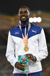 Virgin Islands Kyron A. McMaster won his first gold medal in the men's 400m hurdles final in a time of 48.25 seconds during the 2018 Gold Coast Commonwealth Games at the Carrara Stadium on the Gold Coast on April 12, 2018. Photo: SAEED KHAN/AFP/Getty Images