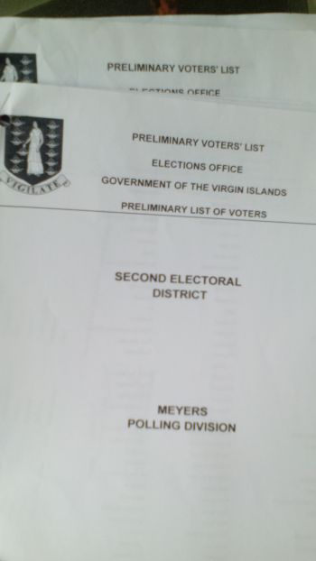 The cover sheet of one of the sections of the Preliminary Voter's List. Photo: VINO