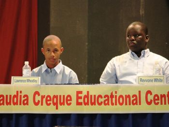 Members of the Claudia Creque Educational Centre debate team, Lawrence Kirton-Wheatley (left) and Revvone White, opposed the moot: 'An additional year should be added to the Secondary Schools' requirement for Graduation'. Photo: VINO/File