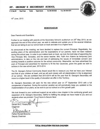 The letter that was sent to all parents and guardians of the St George's Secondary School. Photo: Provided