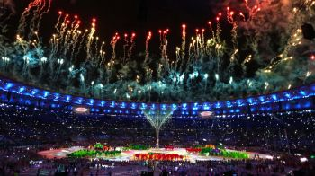 Fireworks explode during the Rio 2016 closing ceremony on August 21, 2016. Photo: Robert Gauthier/Los Angeles Times