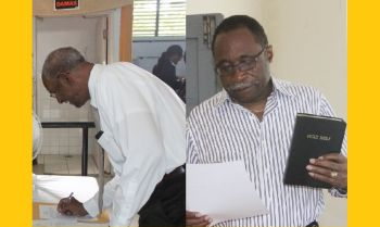 The leaders of the two main political parties in the Virgin Islands, Dr The Honourable D. Orlando Smith (left) of the National Democratic Party and Hon Julian Fraser RA (R3) of the Virgin Islands Party have already been nominated. Photo: VINO
