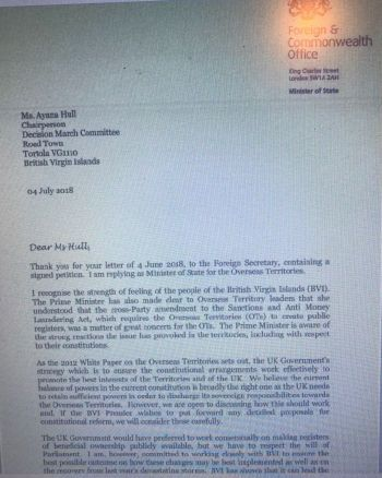 Page 1 of the Letter sent from Lord Ahmad to Ms. Hull.