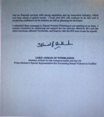 Page 2 of the Letter sent to Ms. Hull on the UK's position.