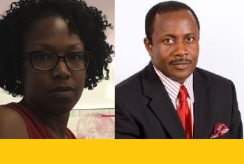 Mrs Ayana I. Glasgow-Liburd, left, is receiving the support of ousted Chairman of the BVI Health Services Authority Board Mr John I. Cline, right. Photo: VINO/Facebook
