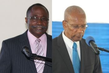 Honorable Julian Fraser RA (R3), left, former Leader of the Opposition, urged the Minister of Finance, Dr The Hon D. Orlando Smith (AL), right, to tell the Members of the House of Assembly why there is about $860,000 unaccounted for as Customs Duty collected at Tortola Pier Park for 2016. Photo: VINO/File