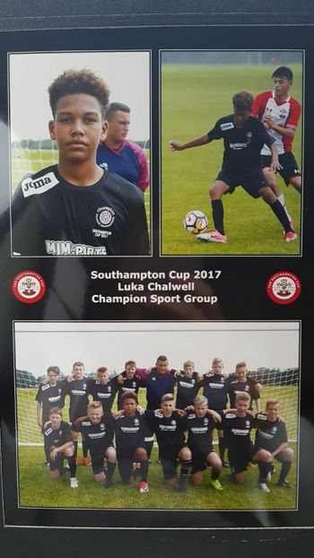 Playing for the Champion Sport Group in the Southampton International Cup, Luka Chalwell scored against Southampton U13's and another goal against Vancouver Academy in a 3-0 victory. Photo: Provided