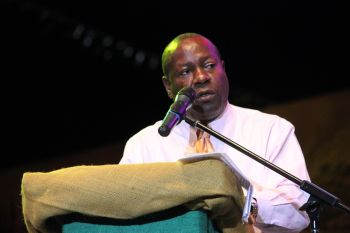 Chairman of the Virgin Islands Festival and Fairs Committee, Mr Marvin Blyden, encourages maximum support for tonight's historic Soca Monarch competition. Photo: VINO