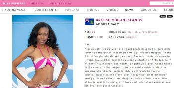 Miss BVI Adorya R. Baly's profile can still be found on the Miss Universe website. Photo: missuniverse.com