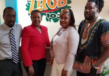 Chairperson of the Virgin Islands Festival and Fairs Committee (VIF&FC) Kishma A. Baronville (2nd from left) was one of the guests on the Morning Ride Show with Paul 'Gadiethz' Peart (right) on July 19, 2016. Photo: Sound Cloud