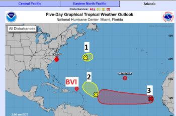 Following the detrimental category 5, Hurricane Dorian which ravaged neighbouring Bahamas, the Virgin Islands (VI) Department of Disaster Manager (DDM) is warning of at-least three more weather disturbances developing in the Atlantic Region. Photo: DDM