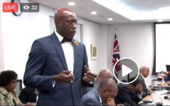 A screenshot of controversial Minister for Education and Culture Honourable Myron V. Walwyn (AL), during his chastising of Second District Representative Hon Melvin M. Turnbull at the Eleventh Sitting of the Second Session of the Third House of Assembly (HoA) on December 13, 2017. Photo: Facebook