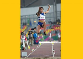 Chantel E. Malone in full flight at the 2019 Pan American Games in Lima, Peru on August 6, 2019. Photo: Todd VanSickle