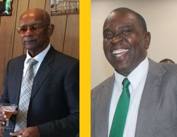 Former President of the Virgin Islands Party and businessman, Carvin Malone (right) has stated that a state of emergency being called before Hurricane Irma would have allowed residents of the Virgin Islands to better secure themselves and properties for the monster storm. Premier Dr The Hon D. Orlando Smith (AL), left, has said there was no point in calling one before the storm. Photo: VINO/File