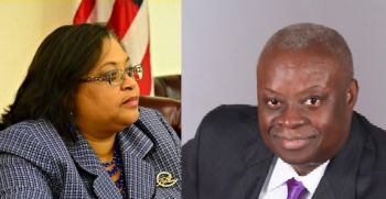"""United States Virgin Islands (USVI) Governor Kenneth E. Mapp has called USVI Senator Janette Millin Young a jackass, """"setty fowl"""" and stupid for alleging that he is maliciously withholding her mother's pension monies that the government owes, because she refused to vote for the ArcLight deal. Photo: VI Consortium/The Bahamas Weekly"""