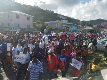 The Virgin Islands (VI) 'Decision March', in May 2018 held on Tortola, organised by Bishop John I. Cline, was accompanied by a petition that was submitted to the UK Parliament. Photo: VINO/File