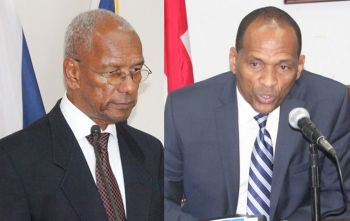 Premier Dr The Honourable D. Orlando Smith (AL), left, and Minister for Communications and Works Hon Mark H. Vanterpool (R4), right, will have many questions fired at them from the Opposition on November 13, 2017. Photo: VINO/File