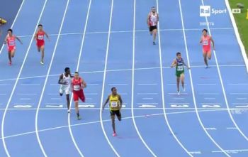 McMaster finishes third in the Men's 400m Hurdles Final. Photo: webtvhd.com