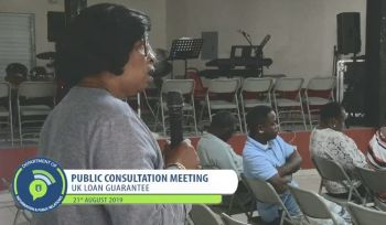 A resident of Virgin Gorda gives some feedback at the consultation meeting on the United Kingdom (UK) loan guarantee at the Catholic Community Centre on August 21, 2019. Photo: GIS/Facebook