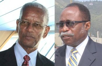 Premier Dr The Hon D. Orlando Smith (left) has refused to divulge the names of all investors of the defunct BVI Airways in a question asked by the Leader of the Opposition Hon Julian Fraser RA (R3) in the House of Assembly on June 23, 2016. Photo: VINO/File