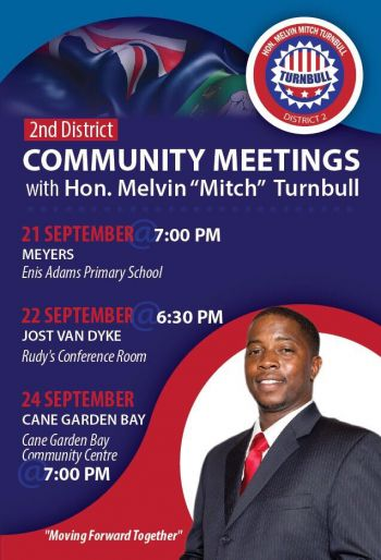 The flyer for the community meetings, including tonight's in Cane Garden Bay. Photo: Provided