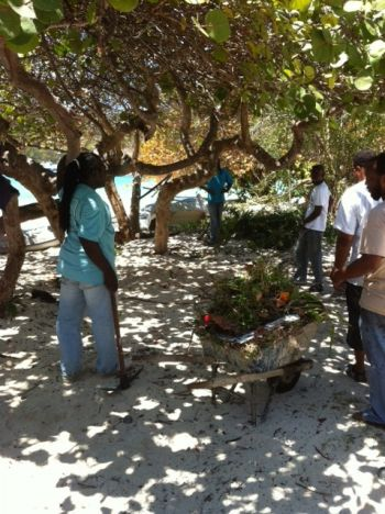 Members of the committee cleaning the Little Harbour Bay area in Jost Van Dyke. Photo: VINO team of reporters