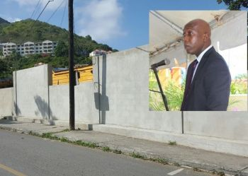 Minister for Education and Culture, Hon Myron V. Walwyn (inset) has been criticised for taking $1M of public funds before the 2015 general elections to build a small wall around the Elmore Stoutt High School (ESHS) that has not solved the safety issues at the school. Photo: VINO