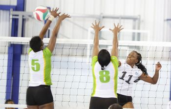 After a sluggish start in the first set in which BVI drew close St. Lucia changed gears and literally had their way in the remaining sets. Photo: Provided