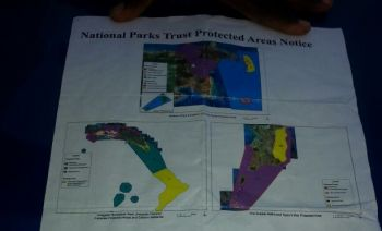 The flyer highlighted three areas which the Government proposes to put under the National Park Trust and would essentially prohibit fishing activities in those areas. Photo: VINO