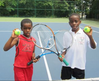 Dmoni Green and Jahmal Bertie of LL/EE Tennis Club just before they clashed in the Boys U10 final at the 2012 BVILTA Junior Championships photo credit: supplied by BVILTA