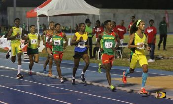 St Vincent and the Grenadines' Delhonni Nicols-Samuel (right) won the 5000m in 15 minutes, 08.62 seconds, erasing St Lucia's Jason Sayers All Comers mark of 15:40.32, from 2002. Photo: BVIAA