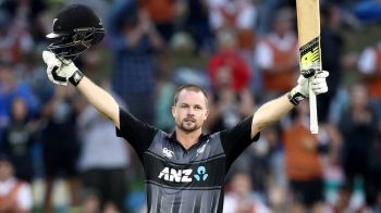 Colin Munro celebrates his century during game three of the Twenty20 series between New Zealand and the West Indies. Photo:Getty Images
