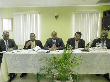Members of the Federal Oppsition: (L-R) Hon. Vance Amory, Hon. Shawn Richards, Hon. Mark Brantley, Hon. Eugene Hamilton, and Hon. Vincent Byron. Photo:thestkittsnevisobserver.com