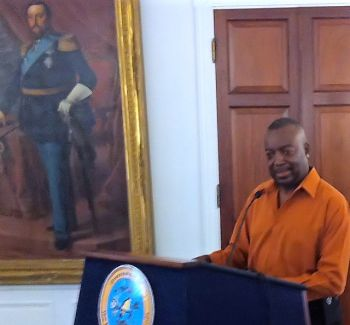 Acting Gov. Osbert Potter talks to the news media Saturday at Government House about the tide of violence washing over St. Croix. Photo: St Thomas Source