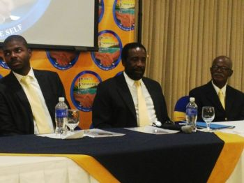 PEP President Natalio D. Wheatley aka Sowande Uhuru and PEP Chairman Hon J. Alvin Christopher (R2) spoke about agriculture during the PEP's talk show last evening March 23, 2015. Photo: VINO/File