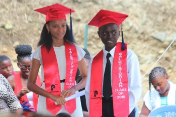 The first ever Valedictorian and Salutatorian of Pelican Gate School, Kaeli A. Alphonso and Chad R. Willock. Photo: VINO