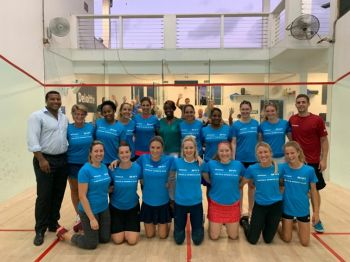 Participants of the Professional Squash Association's Women's Open. Photo: Provided