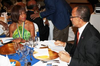 Past President of Rotary Club of Tortola, Mrs Lorna Smith (left) at the club's 45th anniversary dinner on January 5, 2013. Photo: VINO